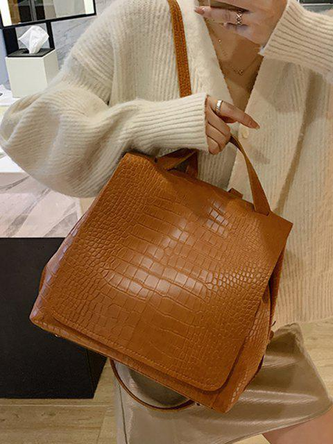 trendy Textured Solid Square Cover Backpack - BROWN  Mobile