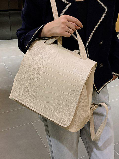 chic Textured Solid Square Cover Backpack - BEIGE  Mobile