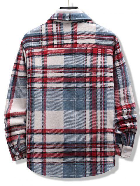 buy Plaid Print Double Pockets High Low Flannel Jacket - MULTI L Mobile