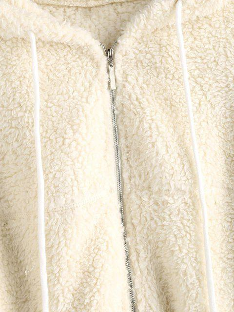 affordable ZAFUL Hooded Zip Up Teddy Jacket - WARM WHITE XL Mobile