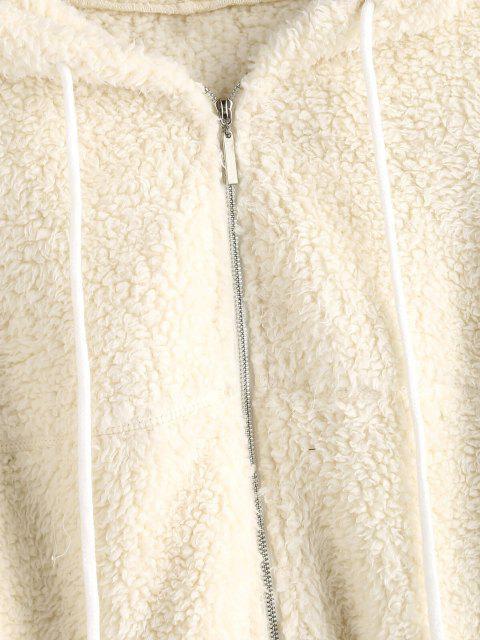 women ZAFUL Hooded Zip Up Teddy Jacket - WARM WHITE S Mobile