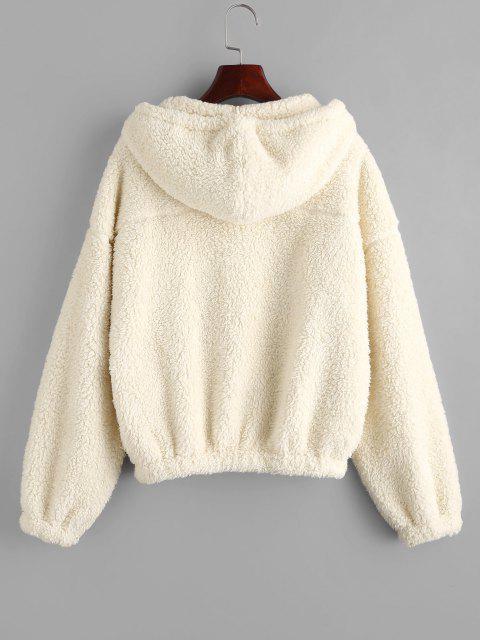 ZAFUL Hooded Zip Up Teddy Jacket - الأبيض الدافئ M Mobile