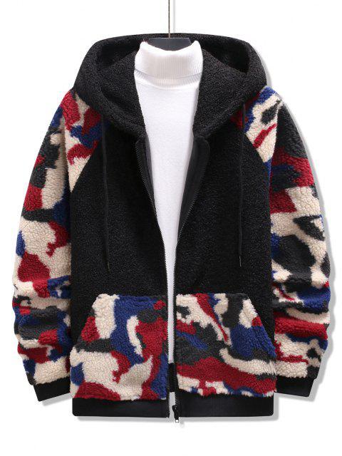 shop Hooded Camouflage Pattern Teddy Jacket - BLACK XL Mobile