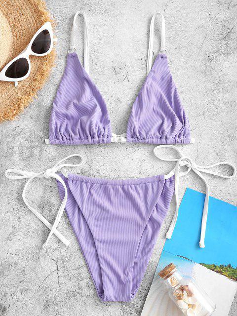 chic Jessica Stockstill X ZAFUL Ribbed Contrast Strap O Ring String Bikini Swimwear - PURPLE M Mobile