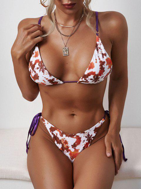 outfits Tie Dye Tied Strap Tanga Bikini Swimwear - COFFEE L Mobile