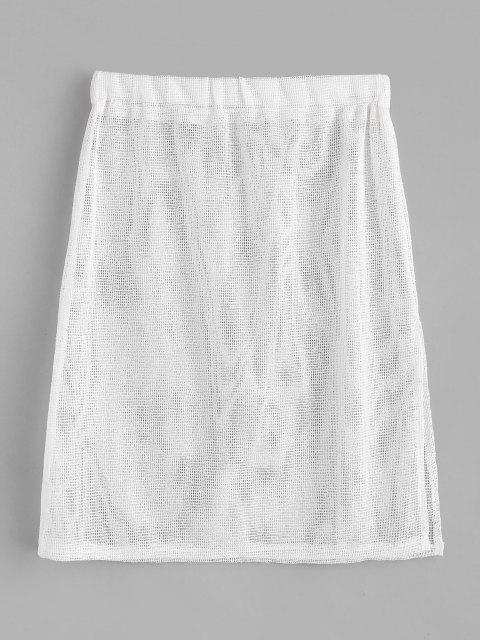 sale Side Slit Fishnet Beach Skirt - WHITE ONE SIZE Mobile
