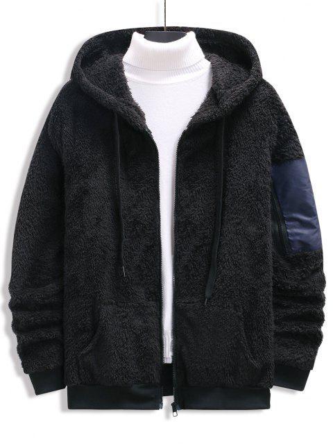 trendy Zip Up Drawstring Fluffy Hoodie - BLACK XXL Mobile