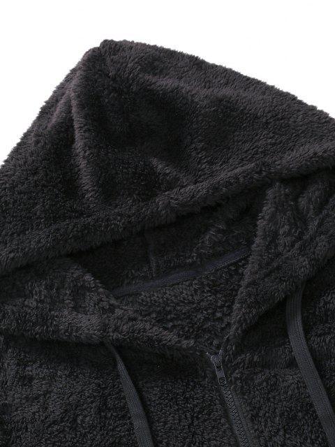 chic Zip Up Drawstring Fluffy Hoodie - BLACK L Mobile