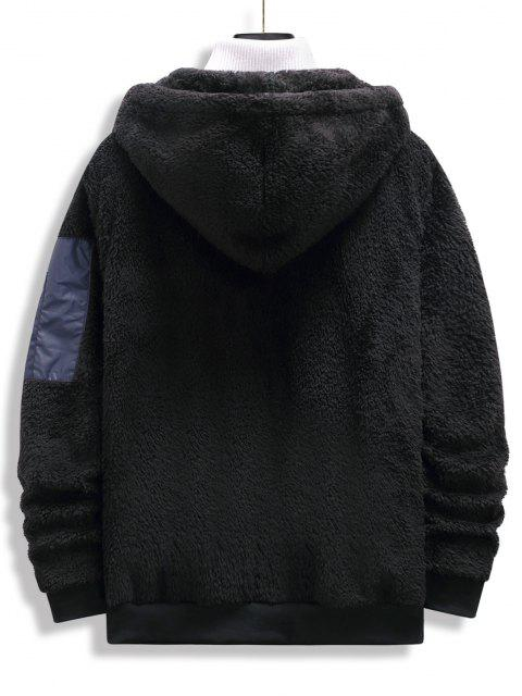 womens Zip Up Drawstring Fluffy Hoodie - BLACK M Mobile