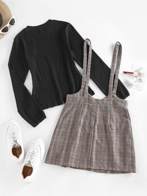 ZAFUL Ribbed Plaid Mock Button Suspender Skirt Set - قهوة M Mobile