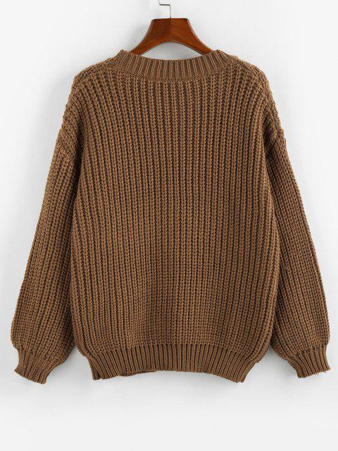 unique ZAFUL Drop Shoulder Ribbed Trim Button Up Cardigan - COFFEE L Mobile