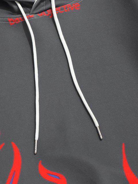 womens Flame Print Kangaroo Pocket Drawstring Hoodie - SLATE GRAY XL Mobile