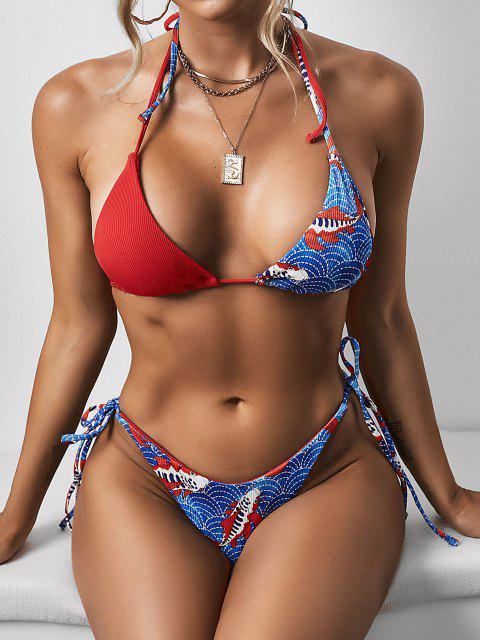 trendy ZAFUL Ribbed Koi Fish Scale Print Tie Side Bikini Swimwear - RED S Mobile