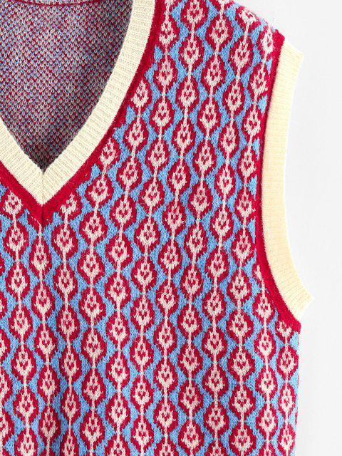 ZAFUL Tierdruck Farbblock V Ausschnitt Pullover Weste - Multi S Mobile