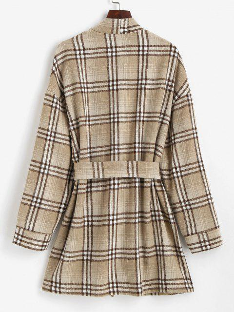 ZAFUL Belted Plaid Longline Robe Coat - قهوة L Mobile