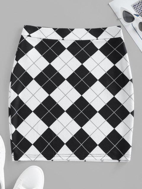 latest ZAFUL Argyle Mini Bodycon Skirt - MULTI XL Mobile