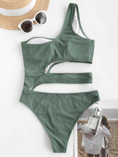 women's ZAFUL Ribbed One Shoulder Knotted Cutout One-piece Swimsuit - DEEP GREEN M Mobile