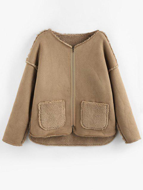 ZAFUL Reversible Faux Suede Drop Shoulder Pocket Teddy Coat - أسمر S Mobile