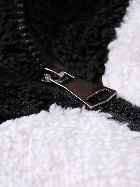 latest Zip Up Applique Detail Contrast Fluffy Jacket - BLACK XXL Mobile