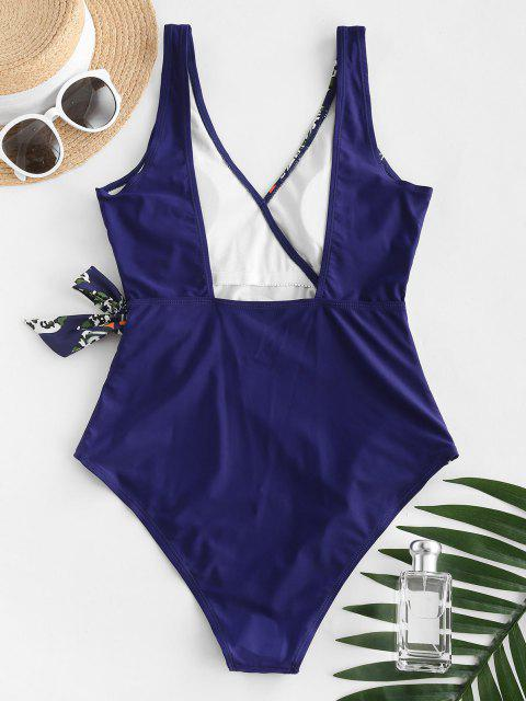 sale Leopard Leaf Knotted Backless One-piece Swimsuit - BLUE L Mobile