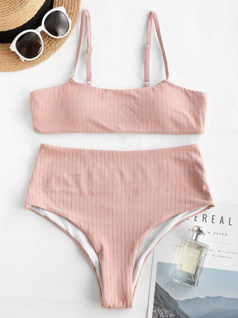 Bikini Fruncido de Cintura Alta - Rosa claro M Mobile