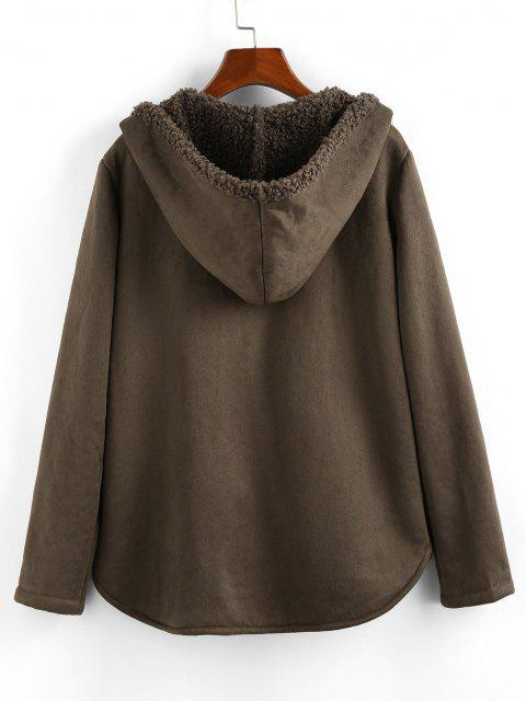ZAFUL Hooded Teddy Lined Pocket Zip Up Coat - رمادي داكن XL Mobile