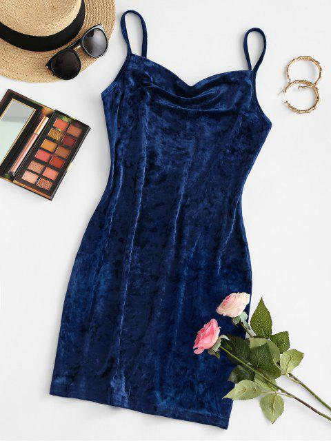 outfit ZAFUL Cowl Front Velvet Mini Dress - DEEP BLUE M Mobile