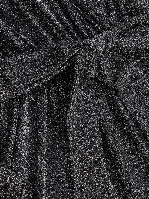 Sparkly Metallischer Faden Gurt Surplice Strampler - Grau M Mobile