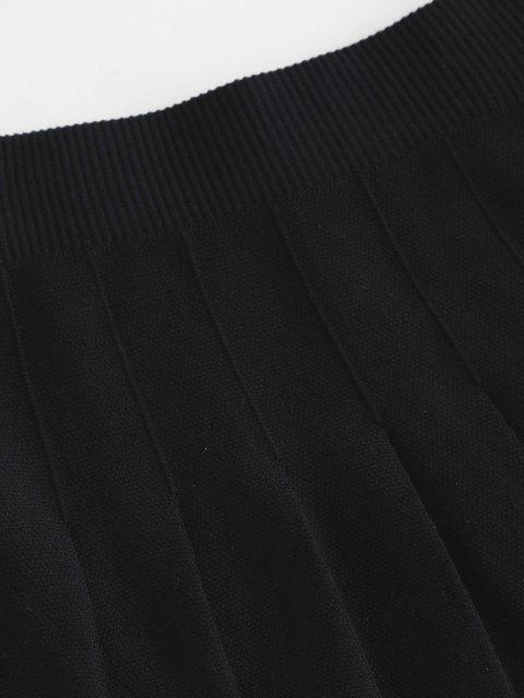 outfit Knit Mini Pleated Skirt - BLACK ONE SIZE Mobile