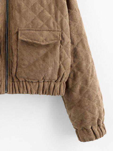 hot ZAFUL Hooded Corduroy Quilted Pocket Zip Coat - BROWN BEAR S Mobile