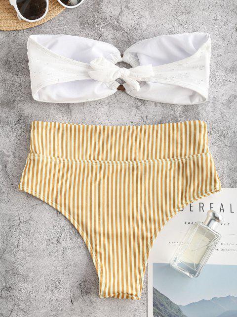womens ZAFUL O-ring Eyelet Ribbed Striped Bandeau Bikini Swimwear - YELLOW L Mobile