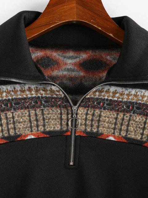 new ZAFUL Graphic Knit Fleece Lined Half Zip Sweatshirt - BLACK M Mobile
