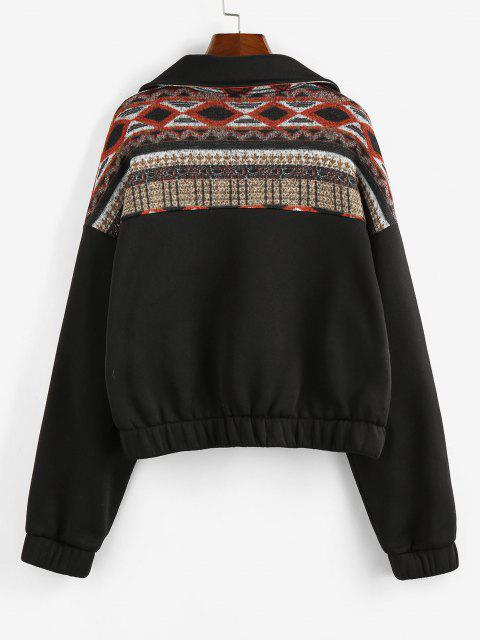 ZAFUL Graphic Knit Fleece Lined Half Zip Sweatshirt - أسود S Mobile
