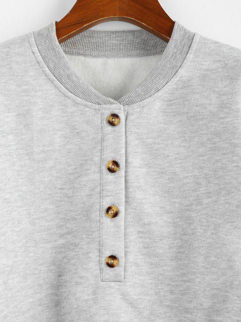 online ZAFUL Fleece Lined Placket Drop Shoulder Taped Sweatshirt - GRAY S Mobile