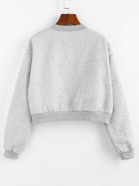 shop ZAFUL Fleece Lined Placket Drop Shoulder Taped Sweatshirt - GRAY L Mobile