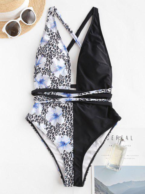 outfit ZAFUL Flower Leopard Crisscross Backless One-piece Swimsuit - LIGHT BLUE S Mobile