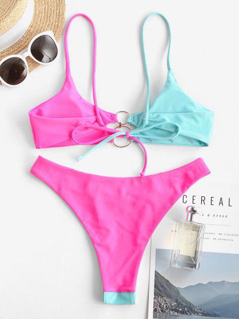 ZAFUL Zweifärbiges O Ring Bikini Badebekleidung - Hellblau S Mobile