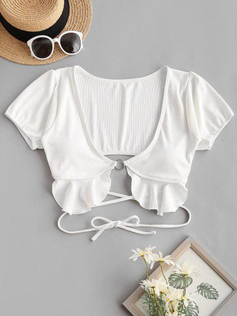 best ZAFUL Ribbed O Ring Ruffle Crisscross Swim Top - WHITE S Mobile
