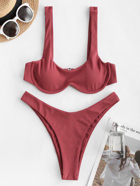Costume da Bagno Bikini a Costine Stampa W di ZAFUL a Taglio Alto - Vino Rosso S Mobile