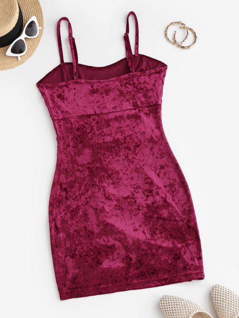Geschnürtes Bodycon Kleid aus Samt - Tiefrot L Mobile