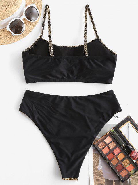 hot ZAFUL Disco Shiny High Waisted Tankini Swimwear - GOLDEN L Mobile