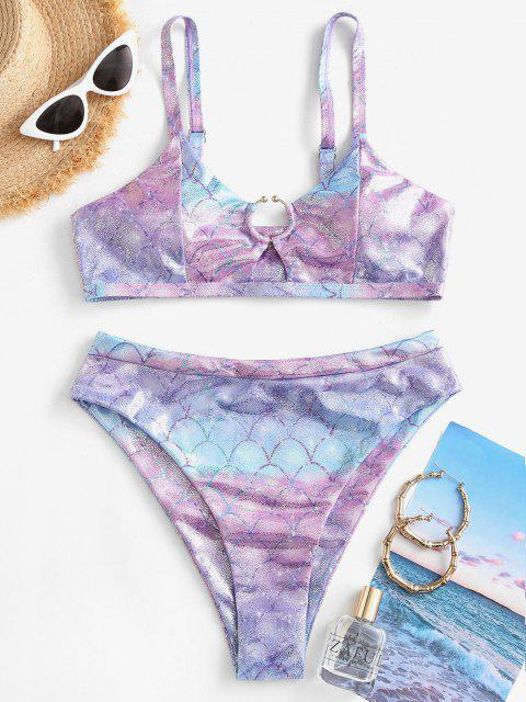 fancy ZAFUL Metallic Scale Print Ring High Cut Bikini Swimwear - MULTI-B S Mobile