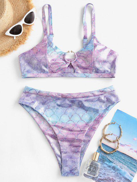 sale ZAFUL Metallic Scale Print Ring High Cut Bikini Swimwear - MULTI-B L Mobile