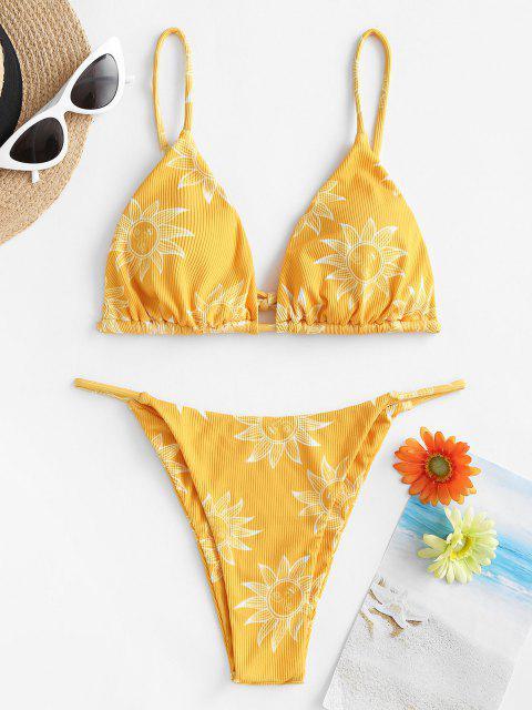 ZAFUL Costume da Bagno Bikini a Righe e Luna - Giallo M Mobile