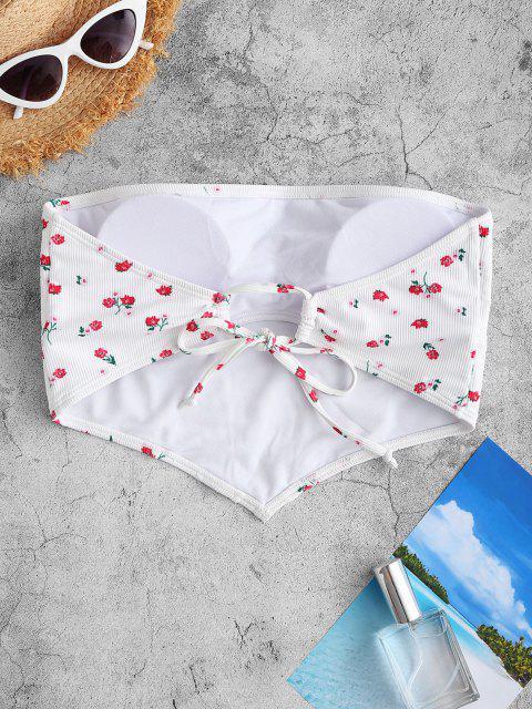 Bikini a Fascia a Costine con Stampa a Fiorellini di ZAFUL - Bianca M Mobile