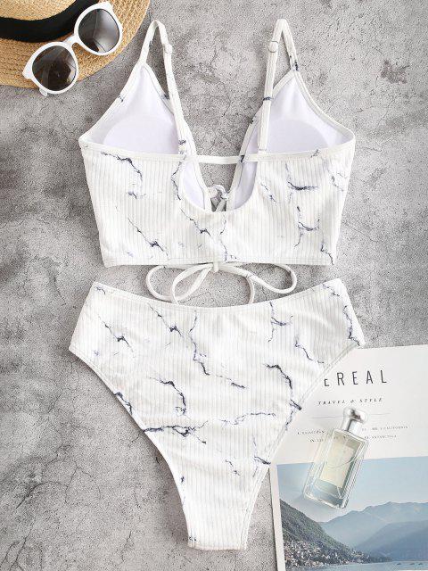 ZAFUL Gerippter Tankini Badebekleidung mit Schnürung und Marmordruck - Weiß S Mobile
