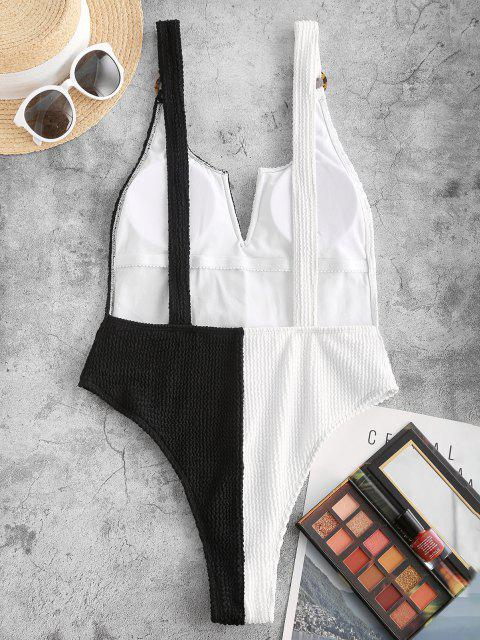shop ZAFUL Plunge Two Tone O Ring One-piece Swimsuit - BLACK M Mobile