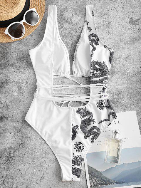 trendy ZAFUL Oriental Dragon Print Plunge Backless One-piece Swimsuit - WHITE S Mobile