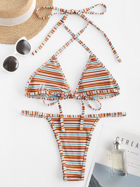 women ZAFUL Ribbed Striped Halter Tanga Bikini Swimwear - MULTI M Mobile