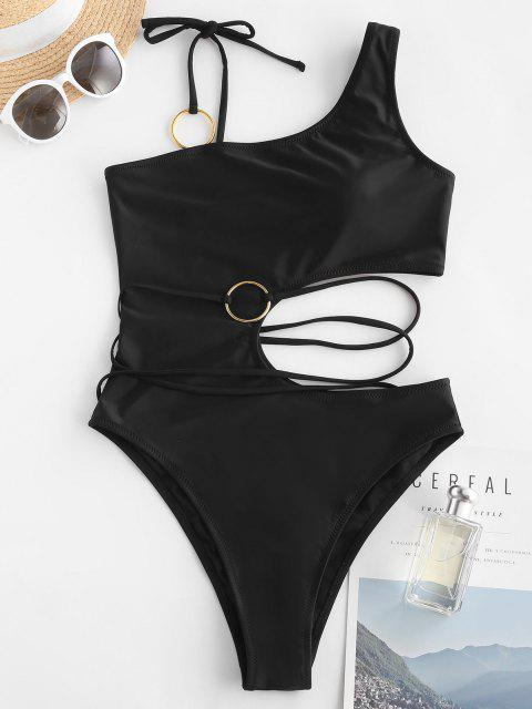 latest ZAFUL Belted Tie Shoulder O-ring One-piece Swimsuit - BLACK L Mobile